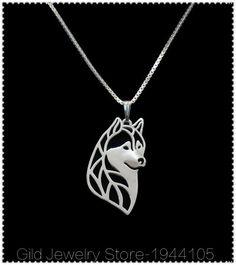 1pcs 2016 New Unique Siberian Husky Necklace Dog Husky Necklace Siberian Pendant Love Dog Collar Jewelry Pet Lovers Gift Idea