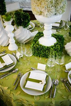 Love this luscious green table scape