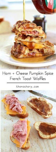 Ham + Cheese Stuffed Pumpkin Spice French Toast Waffles   TheNoshery.com - @TheNoshery