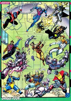 X-Men - Danger Room Session by Jim Lee I remember trying to collect all 9 of the marvel trading cards that when put together made this image...