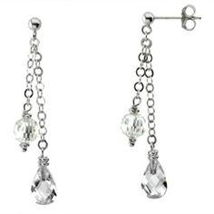 Sterling Silver Cubic Zirconia Briolette Dangle Earrings | Body Candy Body Jewelry #bodycandy