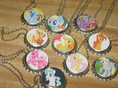 """my little pony inspired bottlecap bottle cap ball chain 18"""" or 24"""" necklaces party favors lot of 10. $16.50, via Etsy."""