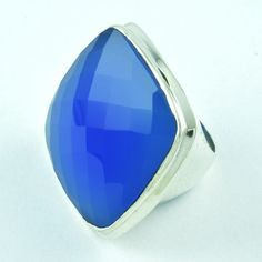925 STERLING SILVER RING CHALCEDONY JEWELRY S.6.5 US R2109 #SilvexImagesIndiaPvtLtd #Statement