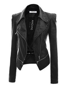 Lock and Love Women's Biker Chic Faux Leather Jacket XS BLACK ...