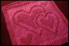Be My Dishcloth multiple hearts free knitting pattern, also good for blanket squares, sweater motif, more. More free knitting patterns at www. Knitting Squares, Dishcloth Knitting Patterns, Knit Dishcloth, Easy Knitting, Loom Knitting, Knitting Stitches, Knit Patterns, Stitch Patterns, Knitting Charts