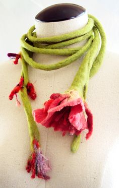 Felted flower scarf in reds