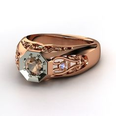 Men's Round Smoky Quartz 18K Rose Gold Ring with Peridot & Tanzanite  | Octagon Ring | Gemvara    I designed this ring !!!!