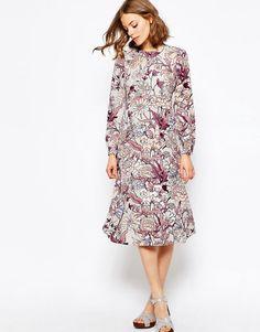 ASOS+Printed+Column+Midi+Dress+in+Floral+Print