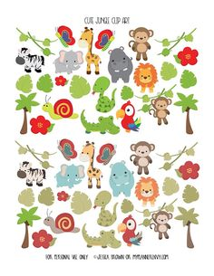 Free Printable Cute Jungle Clip Art {PDF, JPG and Studio3 files} from myplannerenvy.com