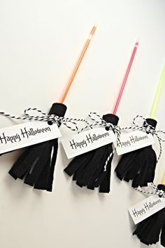 No Candy Halloween Treats - DIY Glow Stick Brooms instead!