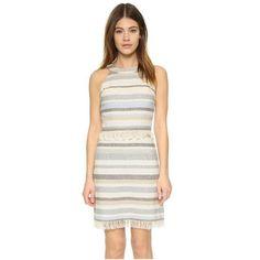 Tory Burch Jane Dress (2,125 CNY) ❤ liked on Polyvore featuring dresses, stripe, white day dress, fringe mini dress, short white dresses, tory burch dresses and mini dress