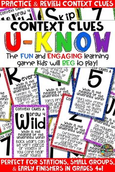 Students love playing U-Know games for fun REVIEW of context clues or for test prep. It's a perfect activity for any small group or station, and great for early finishers. Context Clues U-Know is a fun learning game played similar to UNO except if you get an answer wrong, you have to draw two! Students will beg to practice vocabulary in this way! Available in MANY other topics, too!