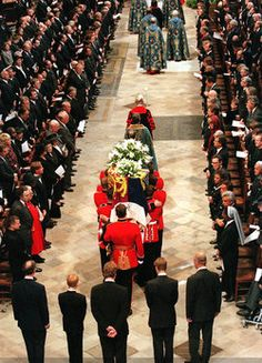 Prince Charles, Prince Harry, Earl Spencer, Prince William and Prince Philip at Diana's funeral.