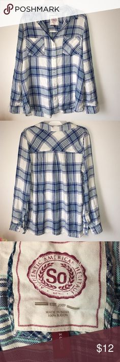 A So flannel shirt blue and white Very soft So flannel shirt in excellent condition, no loose buttons or missing buttons x large in size bundle and save  SO Tops Button Down Shirts