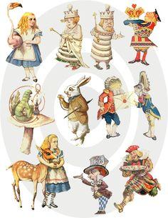 Wonderland Bits And Pieces Digital Collage Sheet Via Etsy