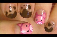 Pig nails with mud Pig Nails, Pig Nail Art, Cute Nails, Pretty Nails, Fingernails Painted, Girls Nails, Jamberry Nails, Creative Nails, Cool Nail Art