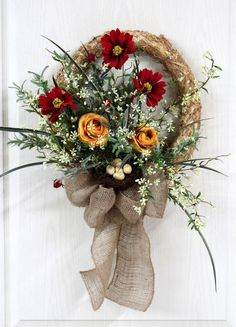 Flowers through center Front Door Wreath, Straw Wreath, Spring Wreath, Summer Wreaths, Bird . Wreaths And Garlands, Fall Wreaths, Christmas Wreaths, Burlap Christmas, Christmas Decorations, Wreath Crafts, Diy Wreath, Wreaths For Front Door, Door Wreaths
