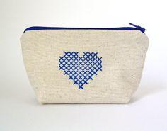 Zip purse  Blue Heart by HenriKuikens on Etsy, $17.40