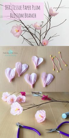 plum blossom branches with tissue paper Home Decorating Trends 2018 Spring home decor Make these easy diy paper cherry blossom flowers these spring paper flowers look so real and you ll love these flowers for years to come this craft is so inexpensive to Tissue Paper Crafts, Diy Paper, Paper Crafting, Tissue Paper Decorations, Origami Decoration, Origami Paper, Paper Garlands, Spring Decorations, Decoration Party