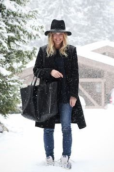 Mija | 'vera' hat (Janessa Leone) + coat with leather details (Sandro) + navy knit jumper (Zara) + refuge skinny jeans (JBrand) + top ten hi sneaker (Adidas) + gusset cabas bag (Céline)