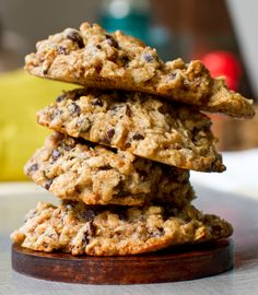 Vegan Chocolate Chip Oatmeal Trail Cookies. Ingredients: oats, flour, sugar, salt, cinnamon, nutmeg, baking powder, flax seeds & chia (i.e. egg replacer), vanilla, banana, peanut butter, applesauce, cider vinegar + fold ins