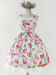 Sweet Lolita Dress JSK Infanta Strawberry Print Lolita Jumper Skirt