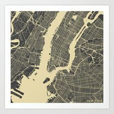 New York #1 Art Print by Map Map Maps - $18.00 ----------------------------If you like my work, you can folllow my Facebook accournt : https://www.facebook.com/MapMapMaps?ref_type=bookmark
