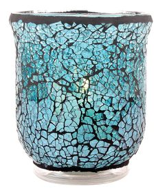 Glass candleholder with an ocean-hued mosaic motif. Product: CandleholderConstruction Material: GlassColor: OceanAccommodates: Candle - not includedDimensions: H x Diameter Glass Candle, Votive Candles, Mosaic Glass, Glass Art, Beachy Room, Living Room Redo, Aqua Glass, Turquoise Stone, Joss And Main