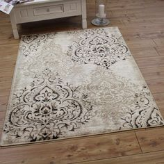 Cartouche Floral Rug Beige Now Only £28.96 Free UK PP