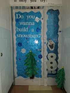 This is our classroom door my classroom aide Kendra and I created. The kids love it! Office Christmas Decorations, 25 Days Of Christmas, School Bulletin Boards, Abc Family, Build A Snowman, Classroom Door, Frozen Party, Ladder Decor, This Is Us