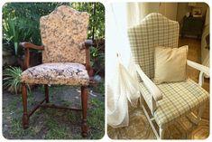 cómo-tapizar-butaca-rústica Outdoor Furniture Sets, Outdoor Decor, Armchair, Sweet Home, Vintage, Home Decor, Chair Upholstery, Chairs, Tela