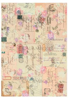 Calambour Paper for Decoupage and decoration, Pattern: old envelopes, postmarks, stamps, flowers. Details: size 35x50 cm, printed on 60 g/mq Easy Paper  DGE 020