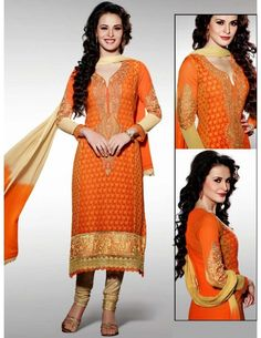 Miraculous Orange Kameez http://www.bharatplaza.com/womens-wear/salwar-kameez/designer-suits.html