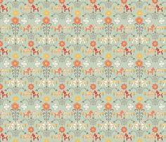dala_horse_paste multico_vert_S fabric by nadja_petremand on Spoonflower - custom fabric