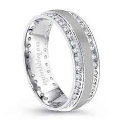 Men's wedding band - Double Channel Set Diamond Wedding Band In 14K White Gold - Extensive range of mens rings online -  Metal Type:  14K White Gold - Our Price: $1,839.99 - Style#: MBR - R6325 - http://www.mybridalring.com/Mens/double-channel-set-diamond-wedding-band-in-14k-white-gold/