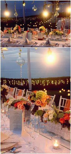 Wedding Table Decorations Flowers Dinner Night | visit www.lovelyweddingideas.com