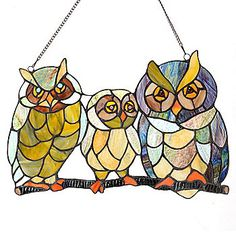 "Tiffany-Style 16"" ""Here's a Hoot"" Stained Glass owl Window Panel"