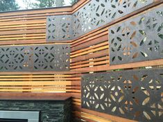 Sammamish deck- privacy screen with parasoleil inserts — Sublime Garden Design Privacy Fence Designs, Outdoor Screens, Privacy Screen Outdoor, Backyard Privacy, Backyard Landscaping, Patio Decks, Decking, Screen Design, Wall Design