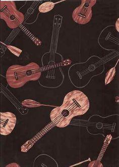 Hawaiian paddles and guitar fabric