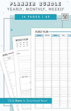 Amazing printable planner bundle for those of you too lazy to draw in your bullet journal. Features yearly, monthly, and weekly spreads on 2 pages in A5. 4 awesome colors to pick from!