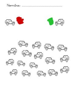 Color the cars according to which direction they are facing. Infantil al aula Preschool Writing, Preschool Learning Activities, Learning Tools, Kids Learning, Vision Therapy, Speech Language Therapy, Worksheets For Kids, Creative Thinking, Special Education