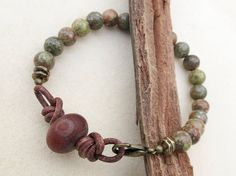 Mens Bracelet Autumn Jasper Stones Leather Etched by CreativeGypsy