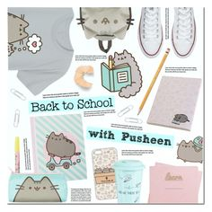 """#PVxPusheen (Back to School with Pusheen)"" by anna-anica ❤ liked on Polyvore featuring Pusheen, Converse, Ben de Lisi, claire's, Paper Mate, Shinola, BackToSchool, contestentry and PVxPusheen"