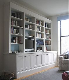 Center Built In TV Wall Units - Love / just wouldn't put a tv in the unit Living Room Built Ins, Living Room Storage, Living Room Tv, Formal Living Rooms, Home And Living, Built In Tv Wall Unit, Bookshelves Built In, Bookcase, Basement Furniture