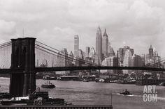 Lower Manhattan Skyline and Brooklyn Bridge Photographic Print by Philip Gendreau at Art.com