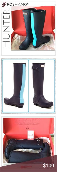 """✨Hunter Original Stripe Boots Midnight Blue✨ ✨Hunter Original Stripe Rain Boots In Midnight Blue With Sky Blue Stripe✨Handmade natural rubber construction and traction-gripping sole For wet-weather durability✨✨Approx 16"""" Boot Shaft✨1"""" heel✨15"""" calf circumference✨These Boots have scuffing On Them But Have Never Been Worn✨Scuffing Doesn't Detract From The Boots IMO✨Price Reflects the Scuffing✨I'll also throw in the Blue Tartan Socks for free listed separately✨Price is Pretty Firm✨No Lowballs…"""