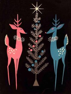 CHRISTMAS, PINK, BLUE, REINDEER, TREE, STAR, FRIDGE MAGNET