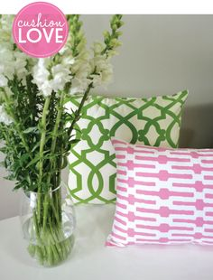 Loving these pretty cushions in kelly green and pink - buy them from Adore Home magazine's online store. www.adoremagazine.com/shop