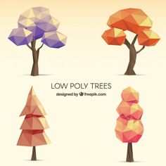 Low Poly Vectors, Photos and PSD files Isometric Art, Geometric Drawing, Low Poly 3d Models, Modelos 3d, Environment Concept Art, Plant Illustration, Tree Designs, Game Design, Cartoon Art