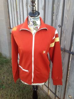 Clothing, Shoes & Accessories Vtg Asics Cheerleader Danz Team Red White Full Zip Windbreaker Jacket Size Mediu